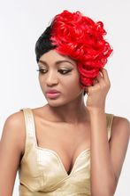 Natural Looking short Red synthetic Lace Front Wig ombre color silk top wig