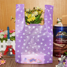 Plastic wholesale gorgeous foldable t shirt plastic bags with bottom and side gusset for gift store shopping