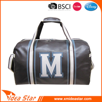 PU leather soft leisure handbag durable black fashion sport bags for gym