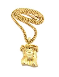 Crown of Thorns Jesus Plain Extra Small Micro Stereo Pendant Chain Necklace For Fiducial Men