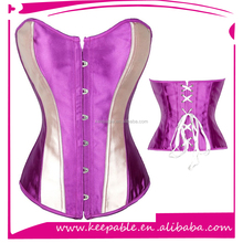 2016 New Design Gothic Satin Lace Up Boned Corset Satin Bodyshaper with Garter