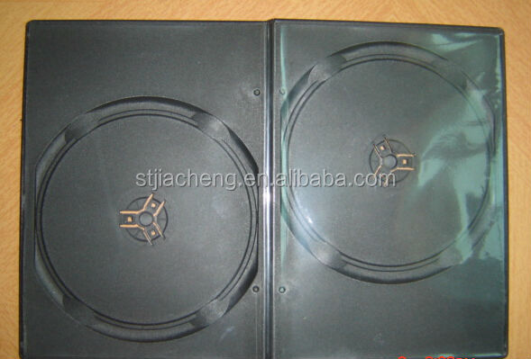 high grade low price 7mm black double dvd case