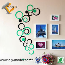 Colorful 3D ring acrylic wall posters home decoration pieces