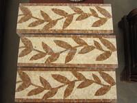 Handmade decorative stone / marble mosaic leaf pattern border designs, free mosaic tile pattern