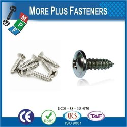 "Taiwan Tapping Screw #14-10 x 2-1/2"" Phillips Drive Pan Head Grade 18-8 Type A Point Stainless Steel Sheet Metal Screw"