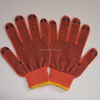 Hot!!! Wonderful pvc dotted cotton gloves/high quality/black dot/orange color/500g