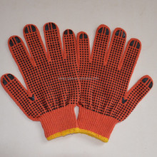 Hot!!! Wonderful pvc dotted cotton gloves/high quality/black dot/orange color/500g
