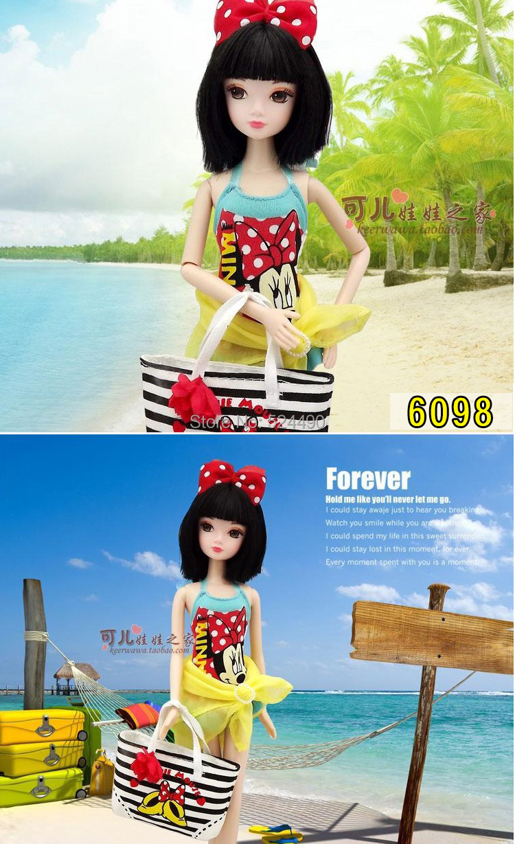 Legal Copy Genuine Original 10 jointed Kurhn Doll / New Design Summer style Mickey Printed Bag Accessories for Barbie Doll Gift