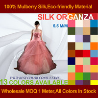 Silk Organza Fabric 6momme 108cm Width 100% Mulberry Silk Textured Wedding Dress Fabrics Factory Direct Wholesale MOQ 1 Meter