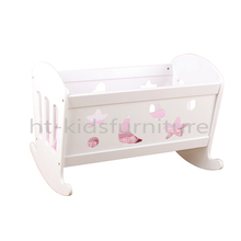 HT-WDF001 49x37x(H)36cm Easy Assembly MDF American Girl Doll Furniture, 18 Inches Doll White Craddle For Wholesale