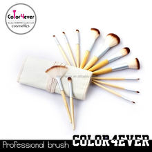 Manufacturer China Eco-friendly bamboo handle 12pcs makeup tool kit retractable face brush as an gift