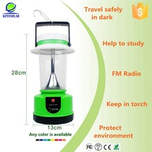 popular camping use solar rechargeable led lantern with fm radio