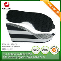 lady white and black color wedge sneaker pu sole