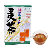 Organic barley tea served hot or cold water, in any season