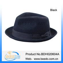 High quality spring wool felt roll up brim black ribbon bow fedora hat for women