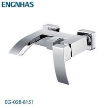 Contemporary wall mounted cascade bath shower mixer
