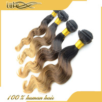 China manufacturer Cheap Ombre hair extension,colored 1b/#4/#27 Brazilian hair extension three tone hair weft