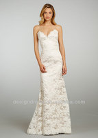 2014 New Fashion JH8307 A-line Spaghetti Strap Lace Sweetheart Neckline Lace Up Back Covered Button Sweep Train Wedding Dress