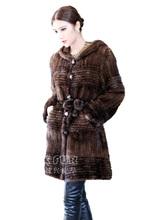 Cx-g-a-46b de punto a mano genuino de piel de visón ruso abrigo de invierno