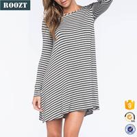 Hot Sale Women Long Sleeve Dresses Cotton Classic Stripe Dress for 2016