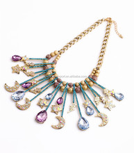 Fashion retro necklace teardrop crystal bar with moon&star&lightning gold bead linked metal chain statement pendant necklace