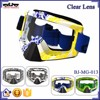 BJ-MG-013 High Quality Clear Yellow & Blue Frame vintage motorcycle motorcross goggles