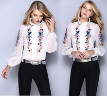 New Arrival 2015 Spring Summer Women Chiffon Blouses Luxury Floral Embroidery Design Long Sleeve Blouses Tops Ladies Shirt XL