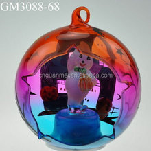 Handpainted Halloween ball with figure inside and led light