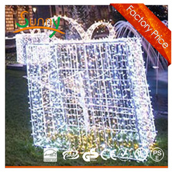 Christmas decorative Outdoor Snowing big 3D acrylic gift box lights