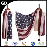GDBX0004 Wholesale fashion personality US flag print thick voile women's shawl scarf