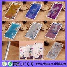 Bling Sparkle Shining Glitter Butterfly Dynamic Liquid Quicksand Clear Sandglass Case Cover For Apple iPhone 6 And 6 Plus