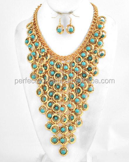 Hecho a mano elegante pendiente largo acrilico moda perlas azul turquesa  rojo siam cuentas de collar