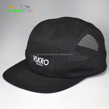 Top quality cotton twill black woven label 5 panel camper cap adjustable plastic snap outdoor sports ventilate mesh hat and cap