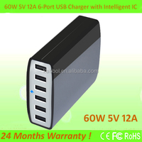 High Output 5V/12A 60W Desktop 6 Port Rapid USB Charger Intelligent Multi Port USB Wall Charger Travel Charger With Auto Detect