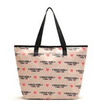 Pink zipper one shoulder bag shopping bag,big female shoulder walking bags