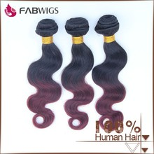 Fabwigs 2015 new arrival virgin indian human hair weave 1b 99j colored two tone hair weave