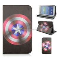 Captain America Logo shield PU Leather Tablet Case For Samsung Galaxy Tab 3 7inch P3200/T210/T211 That Can Flip Stand From China