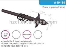 Decorative round curtain rod accessory for curtain rod finial