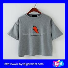 Wholesale fashion women t shirts custom printing t shirts crop top shirts
