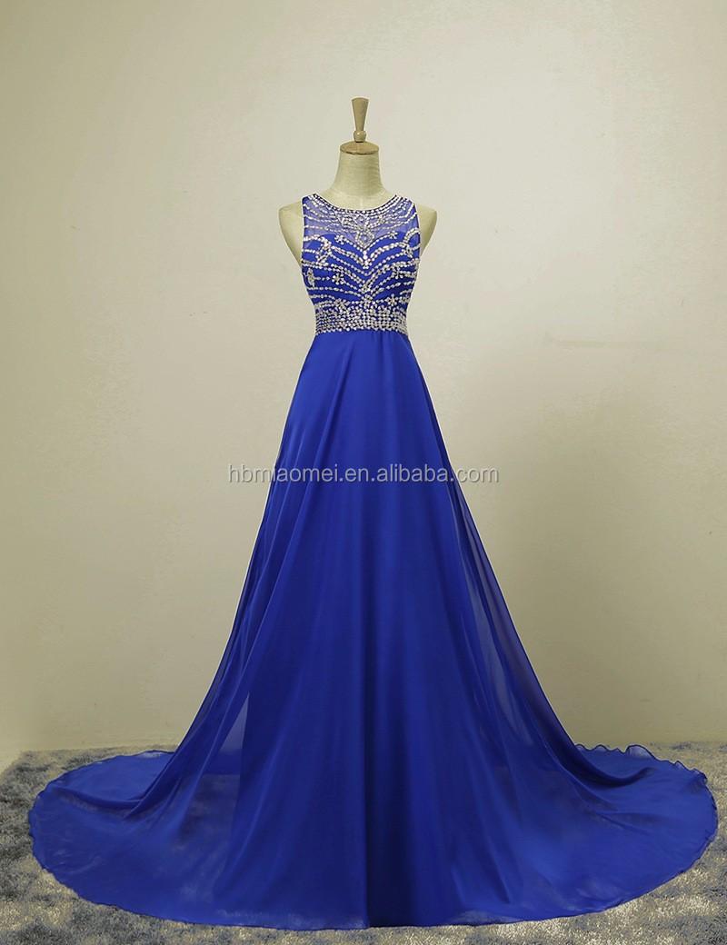 2017 venda quente azul Royal chiffon vestido de noite aliexpress Amazon venda quente hign neck vestido estilo longo vestido de noite para birde