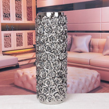 chinese round long interior ceramic gold plated vase with flowers/table flower vases