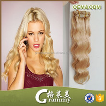 Indian remy human natural clip in hair extension clip in wavy