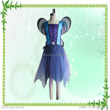 Fashion wholesale Halloween party cosplay blue star witch dress with wings for girls