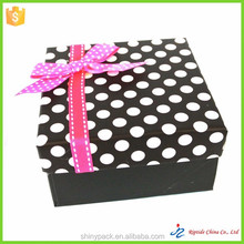 big white dot black cardboard gift box