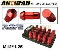 AUTOFAB -Red JDM 20PCS/Set 50mm R*YS Anti Theft Racing Wheel Lug Nuts M12*.125 Forged 7075 Aluminum AF-RAYS 50-1.25 (Red)