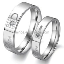 Stainless Steel Love Key Damond Inlay Women Couple Ring Size 6 Wedding Ring Jewelry Design