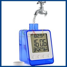 Water Powered Calendar Clock No Battery Needed Digital Alarm Clock with Time , Date , Week , Temperature Display Functions
