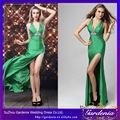 señoras sexy largo vestido de noche de color verde esmeralda frente de hendidura de diamantes de imitación de largo por la noche