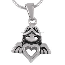 SRP8214 Alibaba China Stainless Steel Jewelry Girl Angel Girl With Heart Cremation Pendant