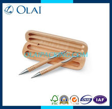 2014 hot sale double pen box for promotion for sale solidwood with lacquer